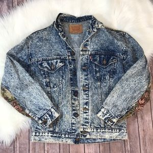 Vintage Levi's Acid Wash Floral Patch Denim Jacket